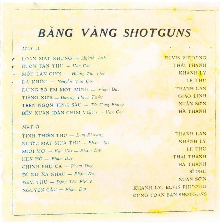 Shotguns - Băng Vàng 1970